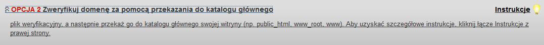SiteLock - Ikona konfiguracji - Wybierz opcję 2 Zweryfikuj domenę za pomocą przekazania do katalogu głównego