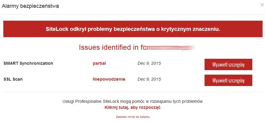 SiteLock - Alarmy bezpieczeństwa - Sprawdź najnowszy raport bezpieczeństwa