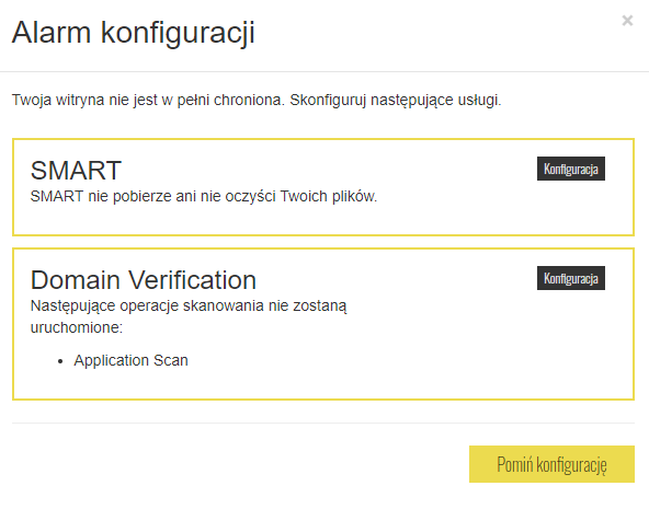 Alarm konfiguracji SiteLock