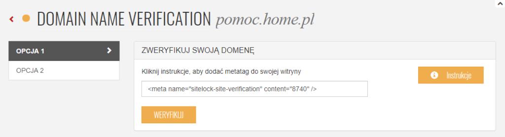 SiteLock weryfikacja domeny