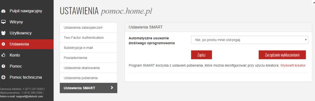 Ustawienia Sitelock w panelu usługi home.pl