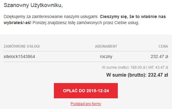 Przykładowa wiadomość e-mail z wygenerowaną PRO FORMĄ dla usługi SiteLock