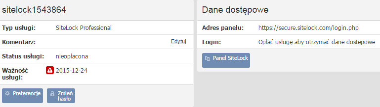 Panel klienta - Usługi - Nazwa usługi SiteLock - Konfiguracja usługi - Znajdź login dostępu do usługi SiteLock