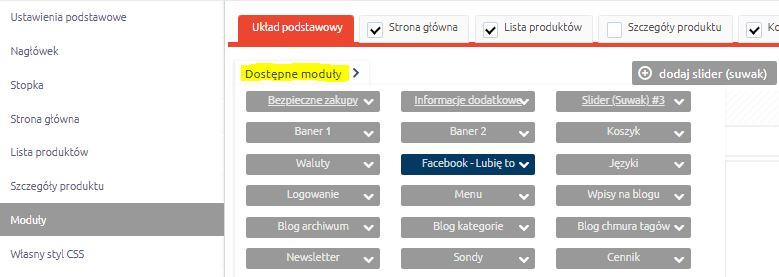eSklep - Konfiguracja - Wygląd - Aktywny styl graficzny - Moduły - Dodaj do wybranej strony moduł Facebook – Lubię to!