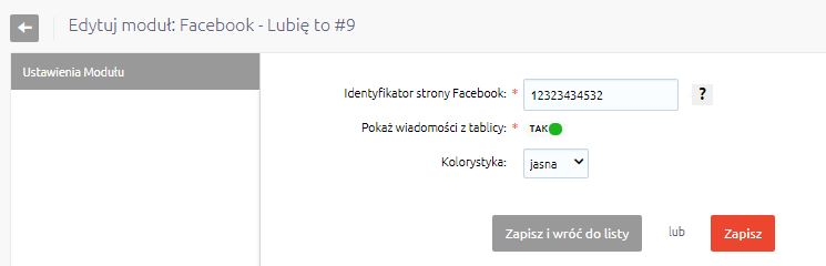 eSklep - Konfiguracja - Wygląd - Aktywny styl graficzny - Moduły - Facebook - Lubię to! - Edycja - Wprowadź identyfikator strony Facebook