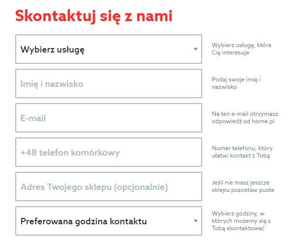 Formularz kontaktowy - Skontaktuj się z nami - Skontaktuj się z zespołem eCommerce