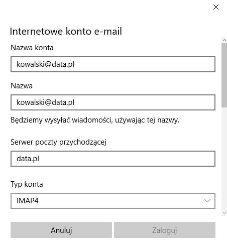 Windows 10 - Poczta - Rozpocznij - Wybierz konto - Inne konto - Konfiguracja zaawansowana - Internetowe konto e-mail - Uzupełnij formularz