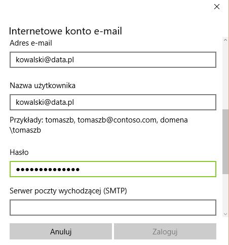 Windows 10 - Poczta - Rozpocznij - Wybierz konto - Inne konto - Konfiguracja zaawansowana - Internetowe konto e-mail - Wpisz hasło do konta