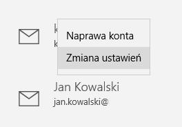 Windows 10 - Program Poczta - Konto - Ustawienia - Konta - Kliknij w nazwę konta i wybierz opcję Zmiana ustawień
