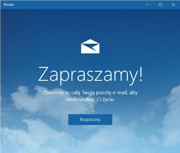 Windows 10 - Poczta - Rozpocznij pracę z kreatorem dodawania konta e-mail