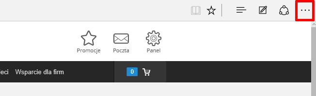 Internet Explorer - Kliknij w ikonę trzech kropek