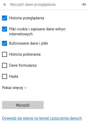 Internet Explorer - Ikona trzech kropek - Ustawienia - Wyczyść dane przeglądania - Lista elementów - Wskaż elementy, które mają zostać usunięte