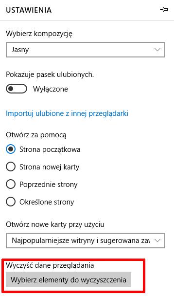 Internet Explorer - Ikona trzech kropek - Ustawienia - Wyczyść dane przeglądania - Kliknij przycisk Wybierz elementy do wyczyszczenia