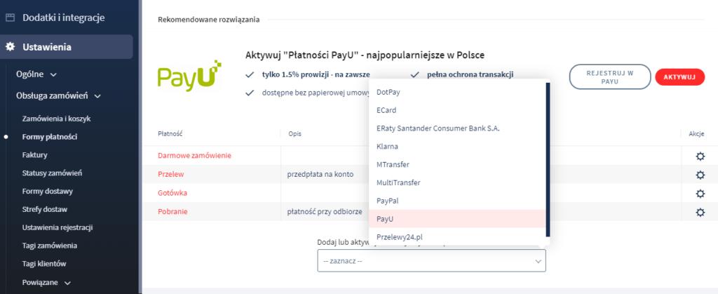 Jak włączyć płatności on-line PayU w sklepie?