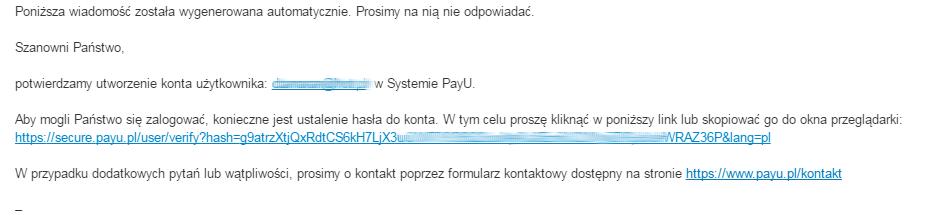 PayU - Wiadomość e-mail - Powiadomienie - Prośba o aktywacje konta i nadanie mu hasła