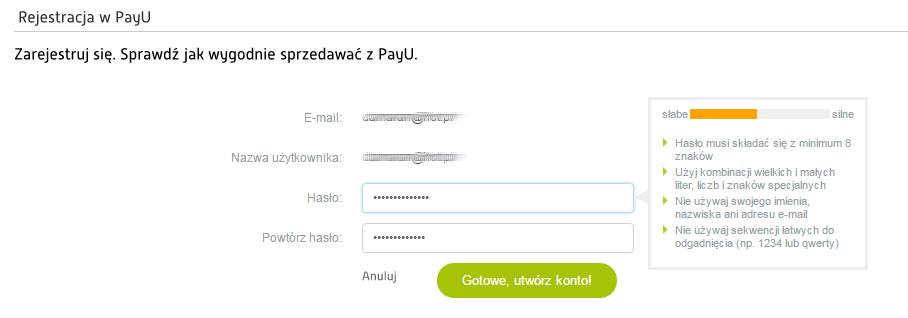 PayU - Rejestracja - Wprowadź hasło - Miernik siły hasła pomoże w doborze odpowiednich znaków