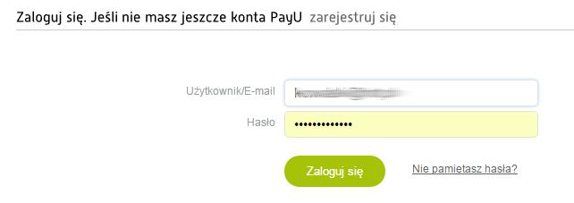 PayU - Strona logowania - Zaloguj się