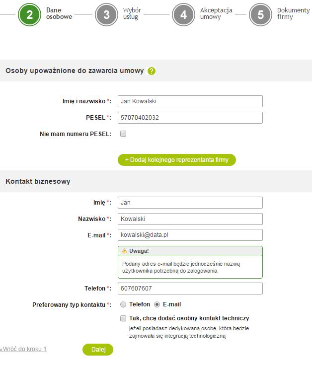 PayU - Rejestracja - 2 krok - Dane osobowe - Uzupełnij dane kontaktowe