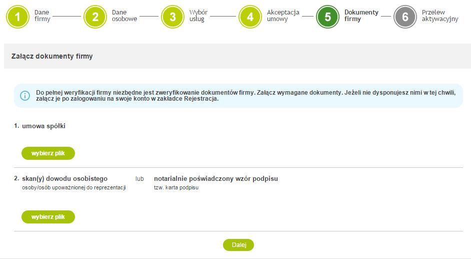 PayU - Rejestracja - 5 krok - Dokumenty firmy - Dołącz skany dokumentów
