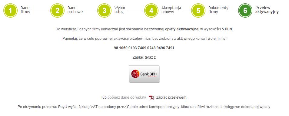 PayU - Rejestracja - 6 krok - Przelew aktywacyjny - Dokonaj płatności aktywacyjnej