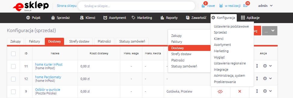 Jak uruchomić kilka form dostawy opartych o integrację, np. z InPost, Poczta-Polska, Apaczka?
