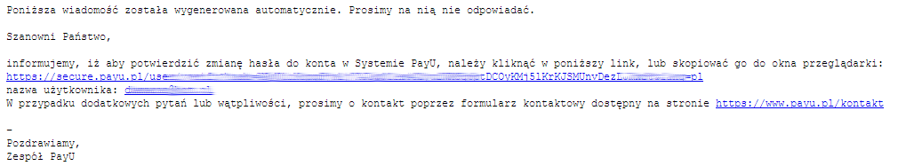 Wiadomość e-mail - Kliknij w udostępniony link do zmiany hasła