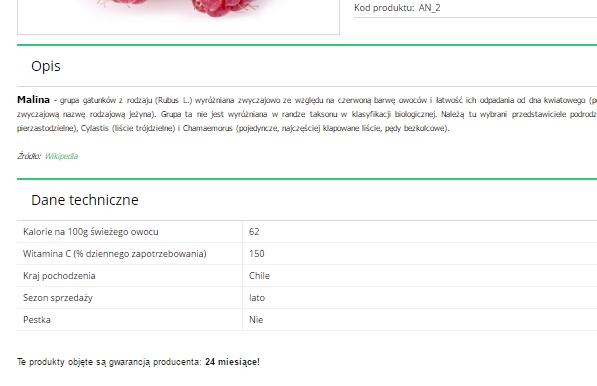 Przykładowy widok szczegółów produktu z utworzonym modułem w sklepie internetowym eSklep