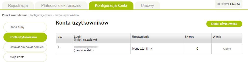 Panel PayU - Konfiguracja konta - Konta użytkowników - Dodaj użytkownika