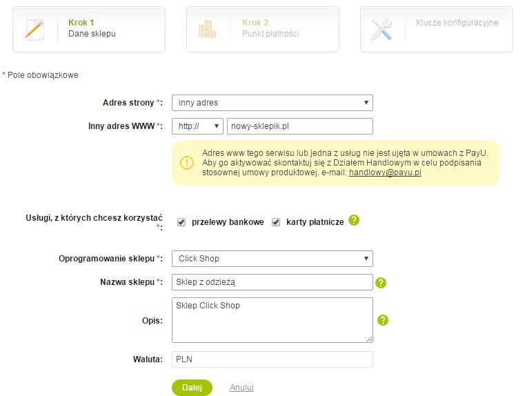 Panel PayU - Płatności elektroniczne - Moje sklepy - Dodaj sklep - Kreator krok 1 - Uzupełnij formularz