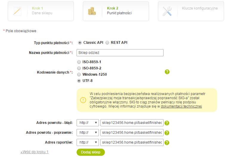 Panel PayU - Płatności elektroniczne - Moje sklepy - Dodaj sklep - Kreator krok 2 - Wybierz typ punktu płatności oraz podaj jego nazwę