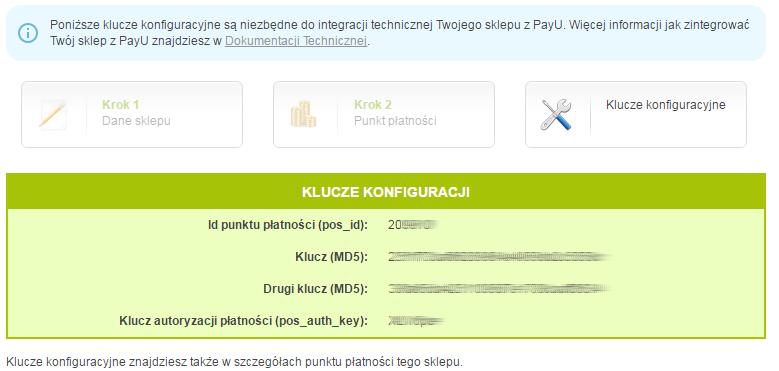 Panel PayU - Płatności elektroniczne - Moje sklepy - Dodaj sklep - Kreator krok 3 - Pobierz klucze konfiguracyjne
