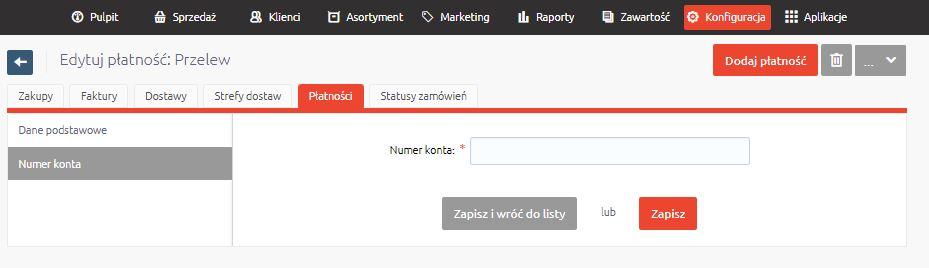 PayU - Numer rachunku wskazany przy wybranej metodzie płatności - Konfiguracja - Płatności - Wprowadź numer konta