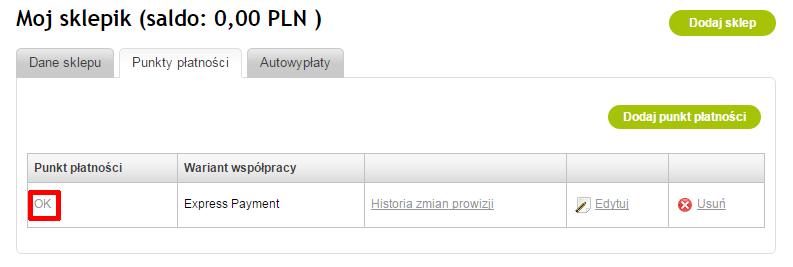 Panel PayU - Płatności elektroniczne - Moje sklepy - Punkty płatności - Wybierz punkt płatności dla Twojego sklepu