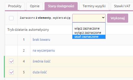 eSklep - Konfiguracja - Asortyment - Stany dostępności - Lista - Zaznacz zbędne stany dostępności, a następnie kliknij Usuń zaznaczone