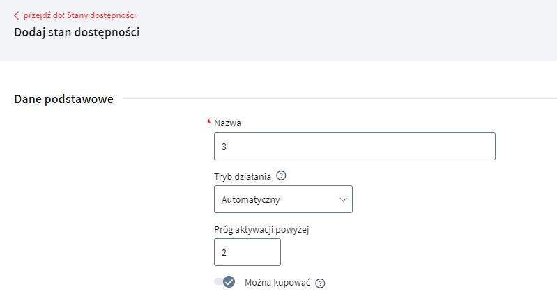 Dodaj nowy stan dostępności określając nazwę i prób aktywacji