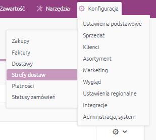 eSklep - Konfiguracja - Sprzedaż - Wybierz opcję Strefy dostaw