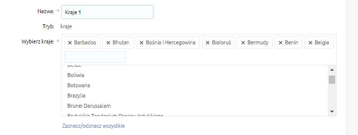 eSklep - Konfiguracja - Sprzedaż - Strefy dostaw - Lista - Edytuj - Dodaj strefę - Wybierz kraje