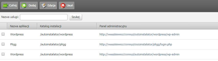 Panel klienta - Usługi - Lista usług - Poszukaj utworzonej bazy danych