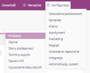 eSklep - Konfiguracja - Asortyment - Wybierz opcję Produkty