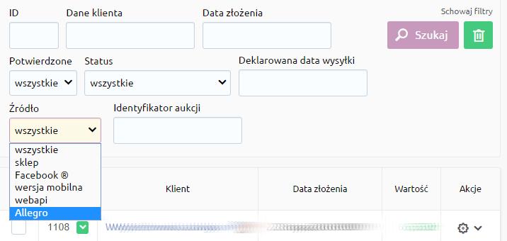 eSklep - Sprzedaż - Zamówienia - Pokaż więcej filtrów - Źródło - Wybierz z listy opcję Allegro i przyciśnij przycisk Szukaj