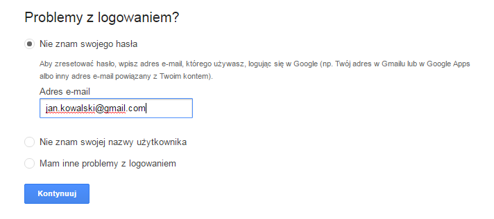 Google - Problemy z logowaniem? - Podaj adres e-mail konta, do którego chcesz zmienić hasło.