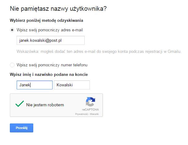 Google - Problemy z logowaniem? - Nie pamiętasz nazwy użytkownika? - Wpisz pomocnicze dane kontaktowe