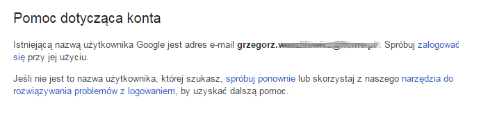 Google - Problemy z logowaniem? - Nie pamiętasz nazwy użytkownika?