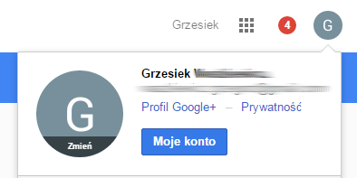 Konto Google - Wybierz Moje konto