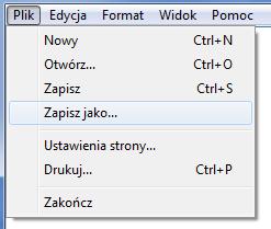 Notatnik systemu Windows - Plik - Wybierz opcję Zapisz jako