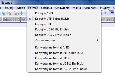 Notepad++ - Format - Zaznacz opcję Koduj w UTF-8 (bez BOM)