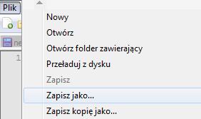 Notepad++ - Plik - Wybierz opcję Zapisz jako