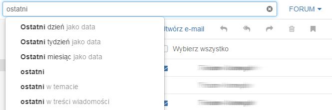 Wyszukiwarka wiadomości e-mail – kryteria wyszukiwania