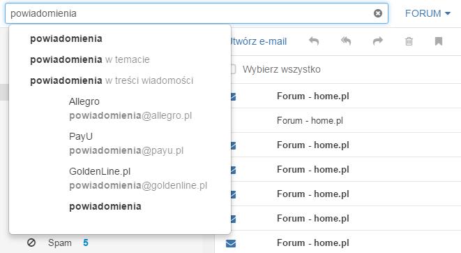 Poczta home.pl - Wyszukiwarka wiadomości - Opcja filtrowania folderu - Pole tekstowe - Wpisz wyszukiwaną frazę