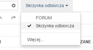 Poczta home.pl - Wyszukiwarka wiadomości - Pole tekstowe - Opcja filtrowania folderu - Wybierz katalog poczty, który ma zostać przeszukany
